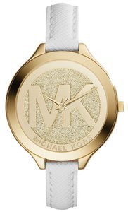 Michael Kors Michael Kors Slim Runway MK2389 White Leather Gold Tone Watch