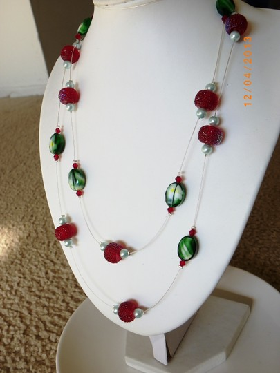 Other Red necklace, green Christmas necklace , floating