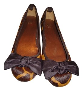 Gap Preppy Feminine Bow Animal Print brown/beige Flats