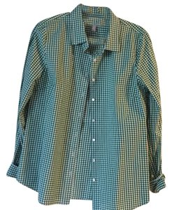 J.Crew Button Down Shirt Green gingham print
