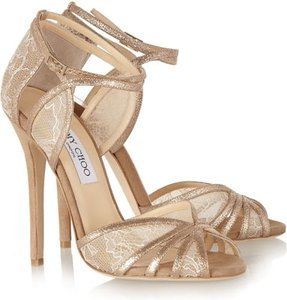 Jimmy Choo Tan/ White?glitter Lace and Suede Formal Size US 9
