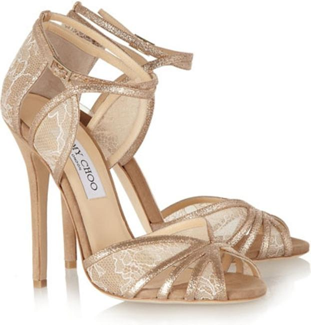 Item - Tan/ White?glitter Lace and Suede Formal Size US 9