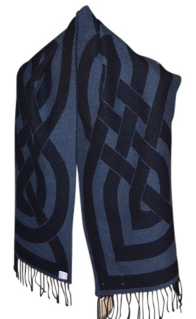 Item - Navy and Royal Blue Celtic Design Shawl/Scarf By Celtic Design Scarf/Wrap