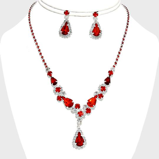 Red and Clear Crystal 2pc White Teardrop Accent Rhinestone Necklace Earrings Set Jewelry Sets