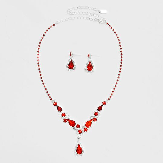 Red and Clear Crystal 2pc White Teardrop Accent Rhinestone Necklace Earrings Jewelry Set