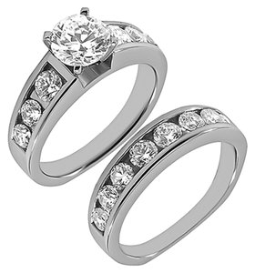 BRAND NEW, 14K WHITE GOLD DIAMOND BRIDAL RING SET