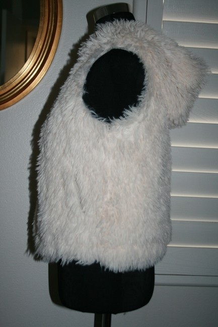 pinko 1988 Faux Fur Hooded White Funky Vest