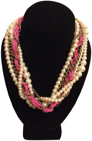 Wet Seal Multi-Strand Pearl & Fabric - Pink & White