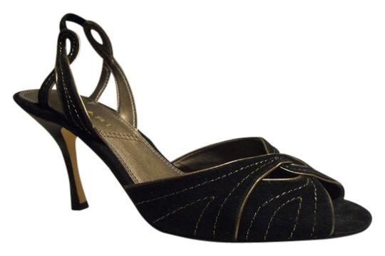 Tahari Leather Suede black & gold Pumps