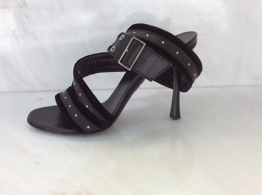 Gucci Silver Studs Double Buckle Black Sandals