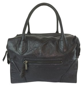 Foley + Corinna Embossed Leather Mid Satchel in Black
