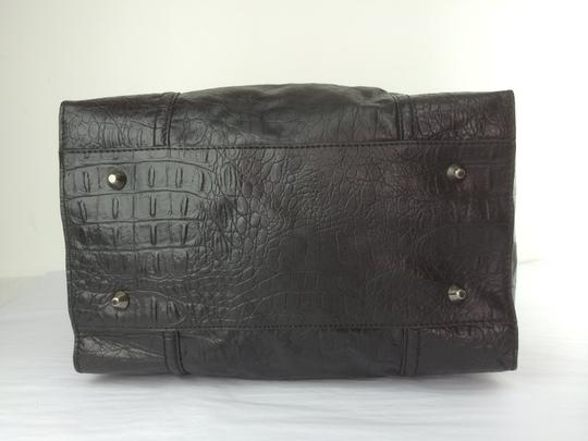 Foley + Corinna Embossed Leather Mid Boxy Satchel in Black