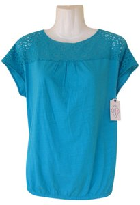 St. John Lace Elastic New Top teal