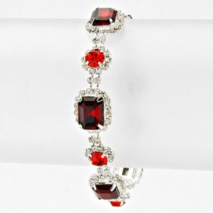 Red and Clear Crystal White Dainty Rhinestone Bracelet