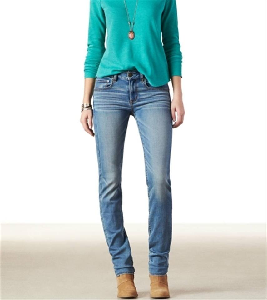 American Eagle Outfitters Straight Leg Jeans Light Wash ...
