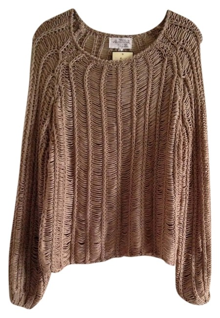 Item - Taupe L Knitted Woven Blouse Long Sleeve Tunic Size 12 (L)