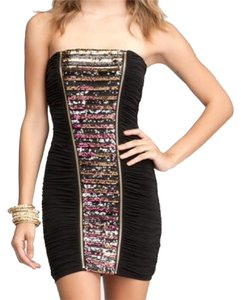 bebe Sparkle Glitter Gold Dress