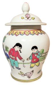 Chinese Vase with Lid; Children and Chickens [ Roxanne Anjou Closet ]
