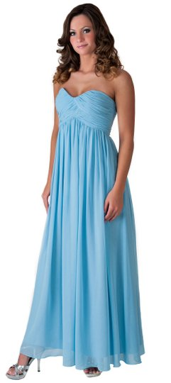 Blue Chiffon Strapless Sweetheart Long Size:[10] Formal Bridesmaid/Mob Dress Size 10 (M)
