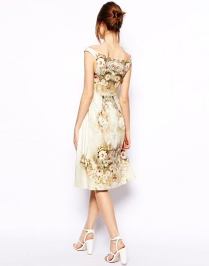 Chi Chi London Ivory Vintage Look Floral Midi Bardot Dress