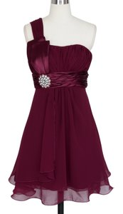 Red Burgundy One Shoulder Pleated W/ Rhinestones Chiffon Dress