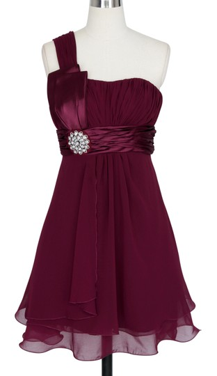 Red Chiffon Burgundy One Shoulder Pleated W/ Rhinestones Formal Bridesmaid/Mob Dress Size 4 (S)