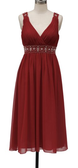 Red Chiffon Embellished Goddess V-neck Modern Bridesmaid/Mob Dress Size 6 (S)