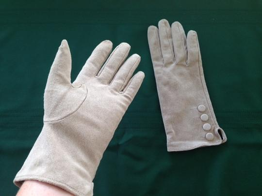 Ivory Genuine Leather Suede Gloves