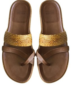 Stuart Weitzman Spain Spanish Vacation Spring Spanish* Brown-Gold * Unisex Size 8M Men | 9.5 M Women Sandals