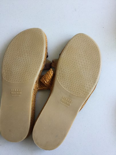 Stuart Weitzman Spain Travel Beach Exotic Spanish* Brown-Gold * Unisex Size 8M Men | 9.5 M Women Sandals
