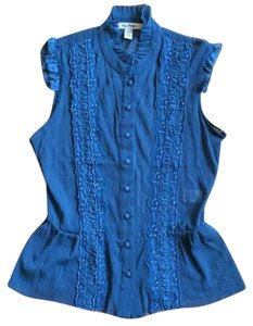 Free People Peplum Lace Lace Trim Top Teal