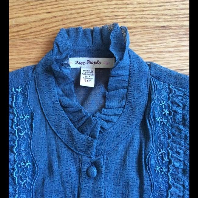 Free People Lace Lace Trim Top Teal