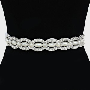 Clear White Vintage Inspired Versatile Marquise Crystal Pave Pearl Beaded Waist Band Headband Choker Necklace Sash