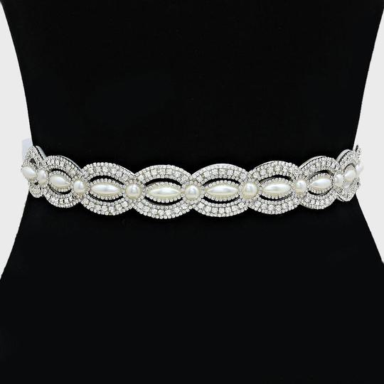 Clear White Vintage Inspired Versatile Marquise Crystal Pave Pearl Beaded Sash Waist Band Headband Choker Necklace Sashes