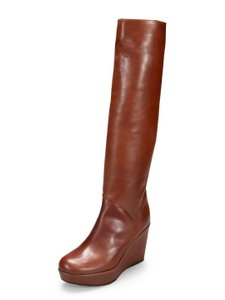 Stuart Weitzman Platform Soft Round Toe Wedge Tan Brown Boots