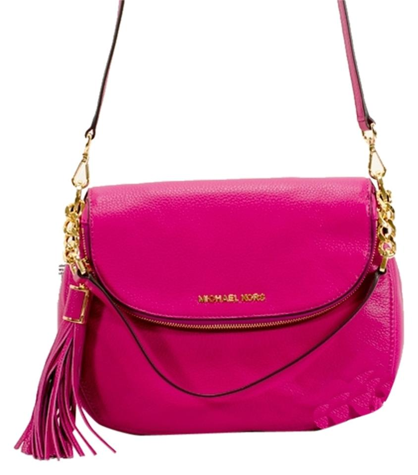 014fbdcacfe1 Michael Kors Bedford Tassel Convertible Medium Fuchsia Leather Cross ...