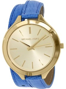 Michael Kors Michael Kors MK2286 Slim Runway Blue Leather Double Wrap Watch