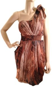 MM Couture short dress Brown, Rust Orange & White Chiffon Overlay Blended on Tradesy