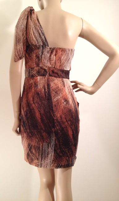 MM Couture short dress Brown, Rust Orange & White Chiffon Overlay Blended One on Tradesy