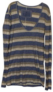Banana Republic T Shirt Blue/Gray/Ivory Stripes