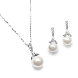 Mariell Silver 3 Of Pearl and Cz Bridesmaid Jewelry Set