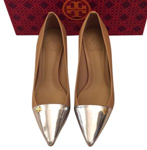 Tory Burch Honey Wheat/Silver Pumps