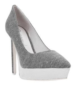 Jeffrey Campbell Grey Jersey White Pumps