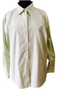 Foxcroft Button Down Shirt Lime and white