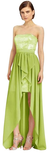 Item - Lime Green Metallic Hi Low Strapless Gown Short Formal Dress Size 4 (S)
