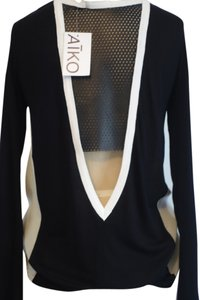 AIKO Silk Leather Perforated Contrast Longsleeve T Shirt