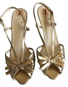 Kate Spade European Elegant Heals Evening Day Classic Classy Summer Fall Open Toe * Italian *Gold Straps with Bows Sandals