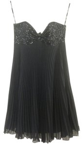 Betsey Johnson Sequin Chiffon Party Strapless Pleated Sparkle Mini Misses Sweetheart Swing Holiday Date Night Evening Night Out Flowy Dress