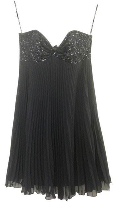 Betsey Johnson Sequin Chiffon Party Strapless Pleated Sparkle Mini Sweetheart Swing Holiday Date Night Evening Night Out Flowy Dress