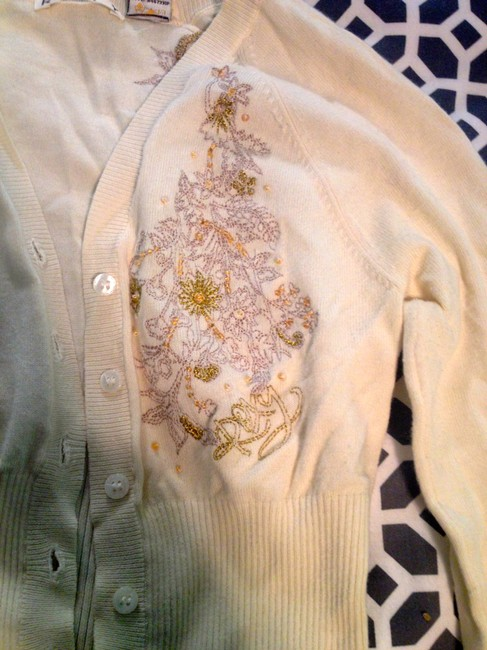 Roxy Crop Embroidered Beaded Sweater Cardigan